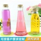 圆方锥形冷泡茶瓶350ml  木塞玻璃瓶 奶茶饮料冰桔茶瓶 厂家直销
